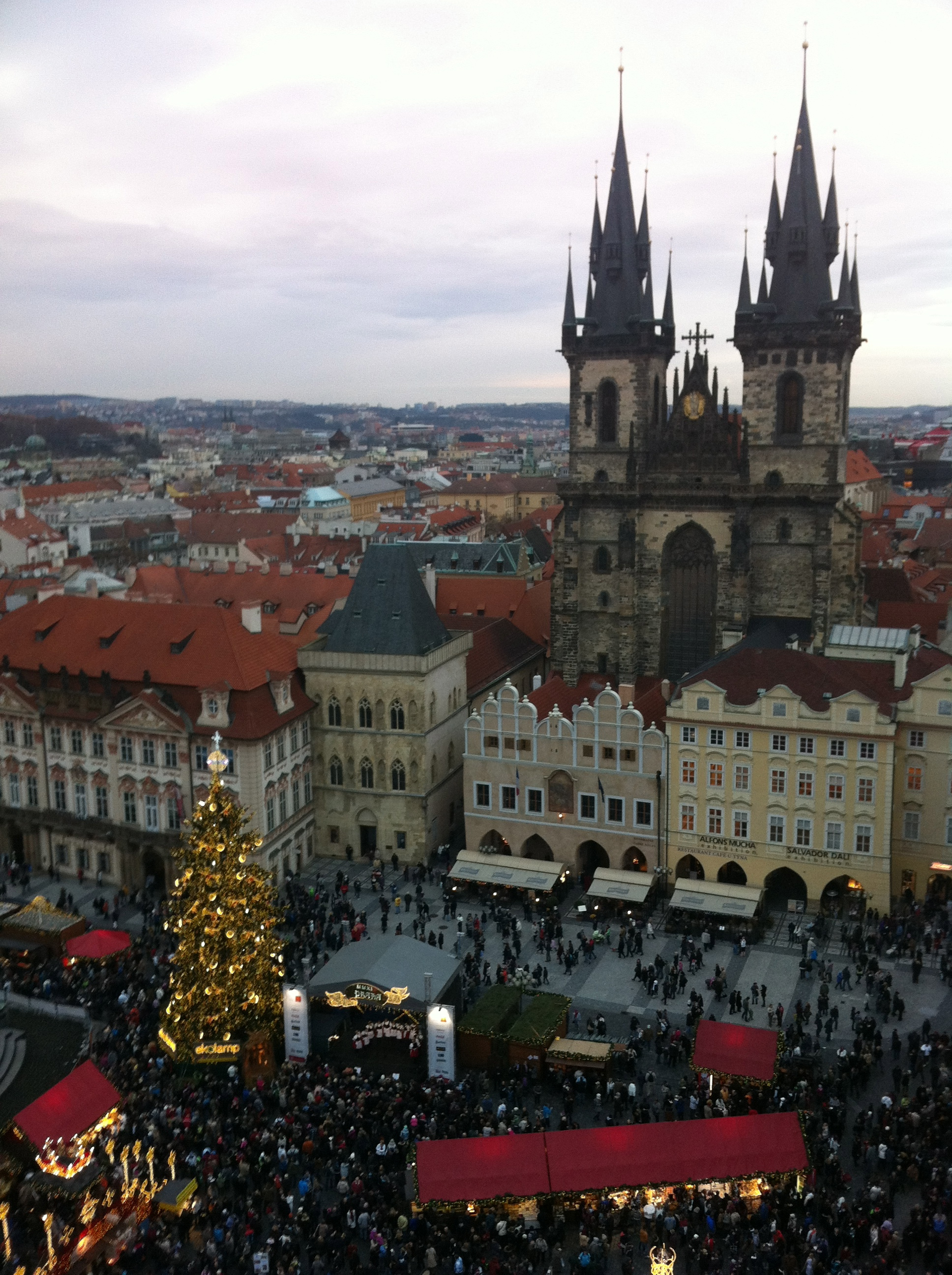 View of the Old Town Square Christmas Markets from the Astronomical Tower.